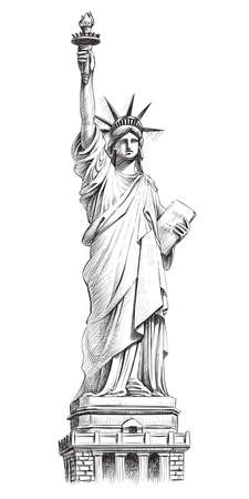 Statue of liberty, vector hand drawn illustration. 向量圖像