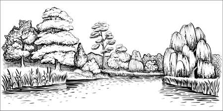 Panoramic landscape with trees and river, vector hand drawn illustration.