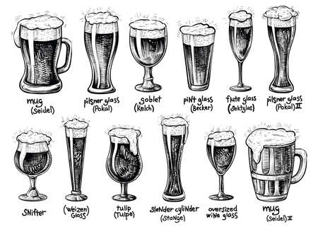 Beer glass and mugs types. Vector hand drawn vintage illustrations. Drinks with foam in varied glassware with it German titles. Vettoriali