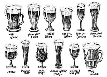 Verre à bière et types de chopes. Illustrations vintage dessinées à la main de vecteur. Boissons avec mousse en verrerie variée avec ses titres allemands