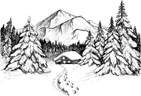 Winter forest in mountains vector illustration. Snowy firs and house.