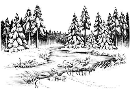 Winter river under ice and forest, landscape sketch. Illustration