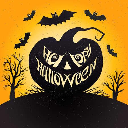 Happy Halloween card with pumpkin