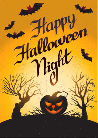 Happy Halloween Night: card with pumpkin. Vector illustration with lettering, scary trees and bats in orange and black.