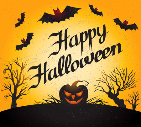 Happy Halloween lettering with pumpkin and bats vector illustration.