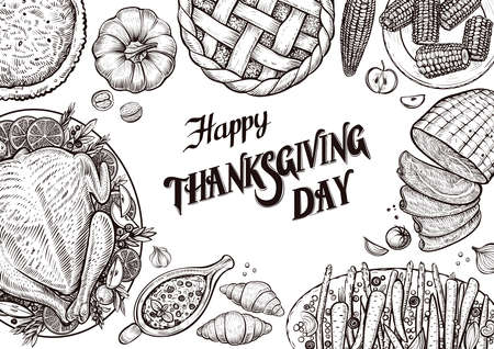 Template with food calligraphy for thanks giving day. Illustration