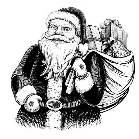 Santa Claus with sack full of presents. Vector hand drawn illustration.