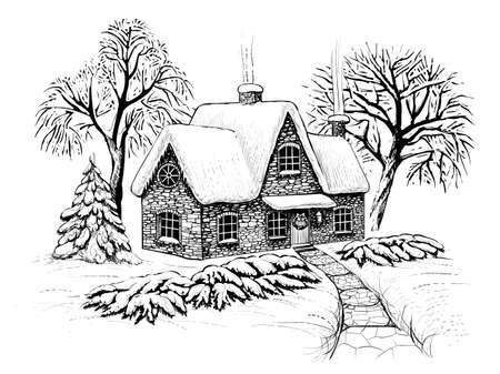 Winter christmas landscape with house, trees and fir in the snow. Engraving vintage style. Ilustração