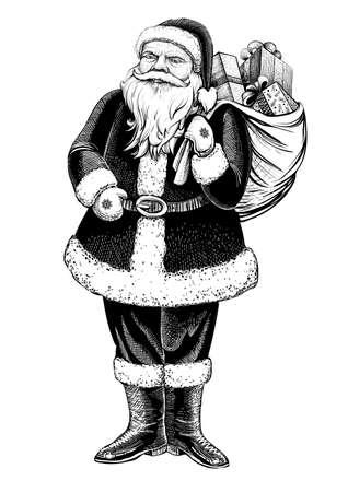 プレゼントの完全な袋でサンタ クロース立っている図。ベクトルは手描き下ろしイラストです。  イラスト・ベクター素材