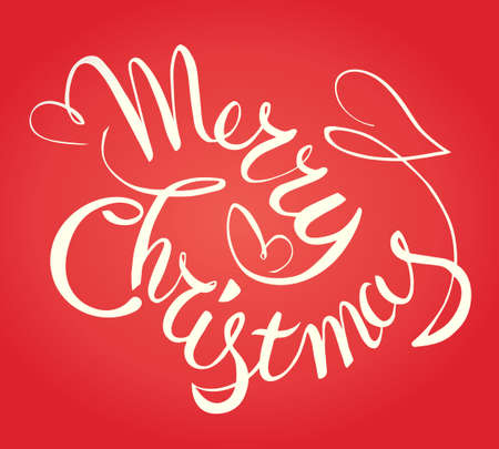 Merry Christmas hand lettering in red background. Vector typographic.