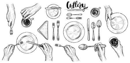 カトラリー、ベクトル線のイラストで手。人、人間の手首、スプーン、フォーク、ナイフ、ナプキン、ワイン グラス、カップとテーブルセッティン  イラスト・ベクター素材
