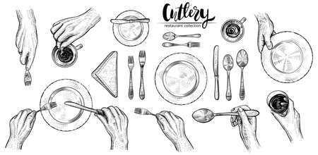 Hands with cutlery, vector line illustrations. Dining people, top view on table setting with human wrists, spoon, fork, knife, napkin, wine glass and cup. Engraved monochrome style. Illustration