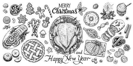 クリスマスダイニングテーブル、ベクトルイラスト。冬の食べ物や飲み物のトップビュー。