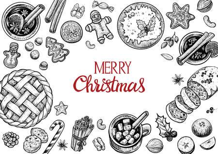 クリスマス ケーキと菓子トップ フレームを表示します。手には、ベクトル グラフィックの図が描かれました。冬の食べ物や飲み物。
