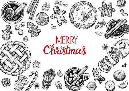 Christmas pastries and confectionery top view frame. Hand drawn vector graphic illustration. Wintertime food and drinks.