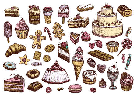 Sweet collection of colored drawings in vintage style. Confectionery products vector illustrations.
