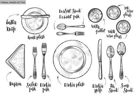 Table setting, top view. Vector hand drawn illustrations with original custom font captions.