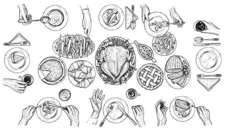 人々 の食事、ベクトル イラストです。テーブルで刃物を持つ手。平面図の図面です。