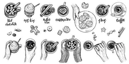 Hot drinks with holding hands top view, vector illustration. Set of hand drawn beverages.