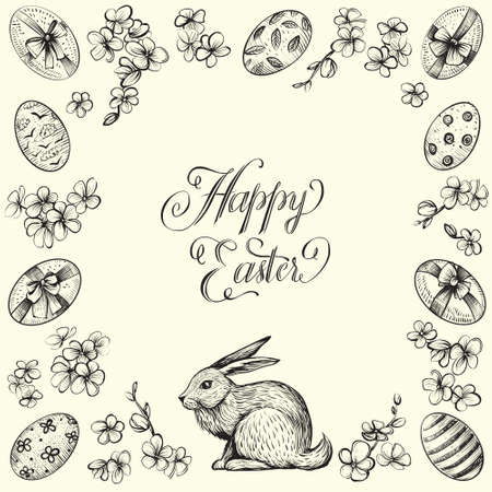 Easter vintage vector frame. Hand drawn illustrations of bunny, eggs, and flowers. Ilustracja