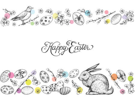 Easter vintage vector banner. Hand drawn card.