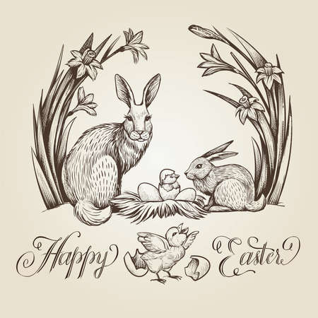 Happy Easter, hand drawn card vintage illustration with rabbits, chickens, nest with eggs and narcissus flowers.