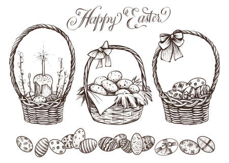 Easter basket set hand drawn vector illustration.