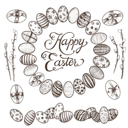 Easter vintage hand drawn vector eggs.