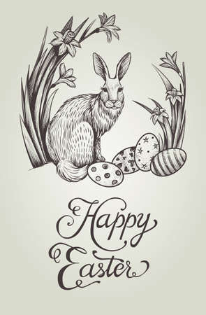 Happy Easter vintage hand drawn card illustration with bunny, festive eggs and narcissus flowers.