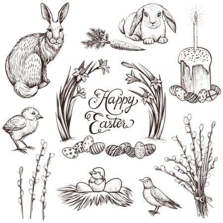 Easter vintage hand drawn vector illustrations set.