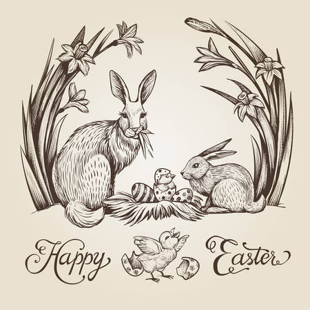 Easter vintage hand drawn illustration. Happy Easter vector card design with bunnies and flowers.