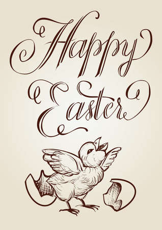 Easter vector vintage hand drawn illustration with lettering and the newly hatched chick. Ilustracja