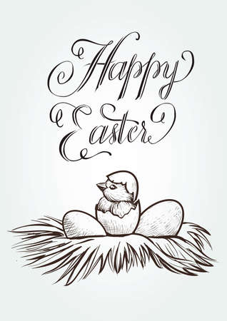 Easter vintage vector hand drawn illustration with lettering and the newly hatched chick in nest.