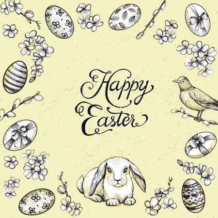 Vintage design happy easter illustration