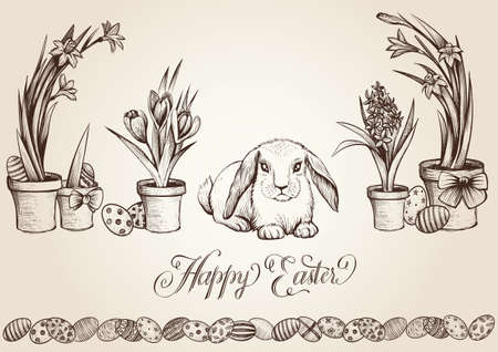 Bunny with eggs and plants for easter day celebration concept.