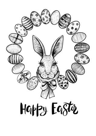 Easter wreath with eggs and head of a hare with bow. Happy Easter black and white card.