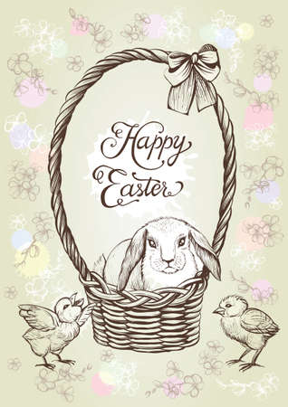 Easter vintage vector card. Hand drawn rabbit in the basket with bow and chickens. Illustration