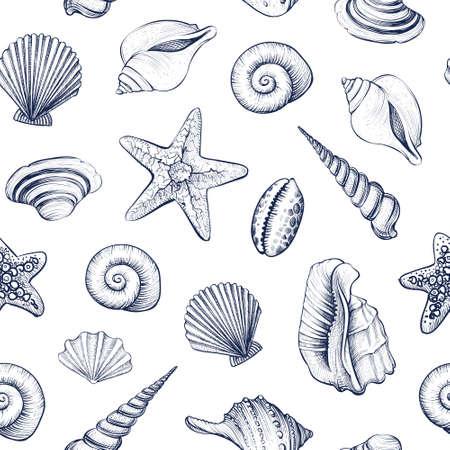 Seashells vector seamless pattern.