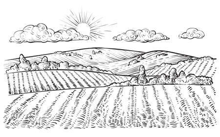 Rural landscape, vector vintage hand drawn illustration. Ilustracja