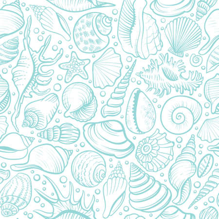 Seashells vector seamless pattern. Blue line background.