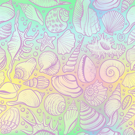 Seashells vector seamless pattern on the holograram background.