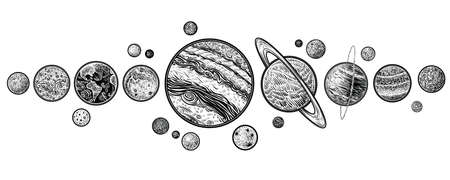 Planets in solar system hand drawn vector illustrations. Ilustracja