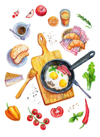 Breakfast food watercolor top view illustration.