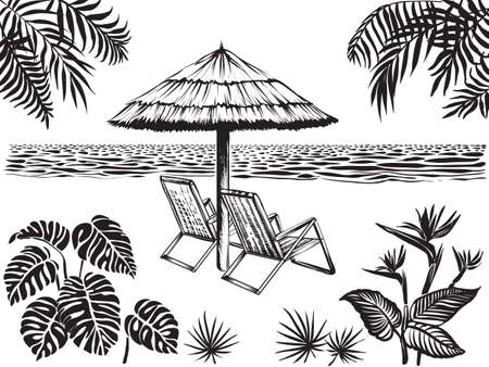Beach scenery view with tropical leaves of palm, monstera and exotic flowers . Umbrella, two chairs surrounded ocean and jungle plants. Summer vacation landscape, vector sketch.