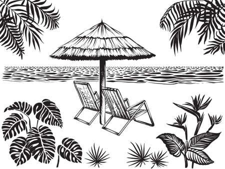 Vista sulla spiaggia con foglie tropicali di palme, monstera e fiori esotici. Ombrello, due sedie circondavano l'oceano e le piante della giungla. Paesaggio di vacanza estiva, disegno vettoriale. Vettoriali