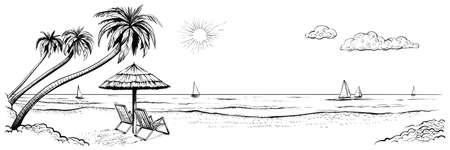 Panoramic beach view. Vector illustration of seaside promenade with palms, two chairs, umbrella and yachts. Black and white hand drawn sketch. Illustration