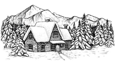 House in the winter mountines, covered with snow and surrounded by fir forest. Panoramic idyllic landscape. Vector black and white sketch.