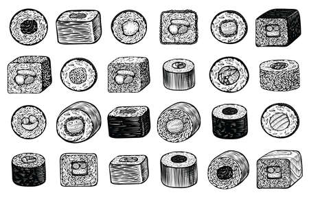 Sushi maki rolls vector hand drawn illustration, different angle of view. Engraving sketch style. Japanese food menu design elements. Illustration