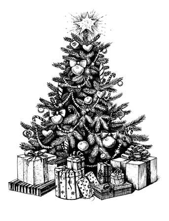 Hand drawn Christmas tree and presents. Vector vintage illustration sketch, black line art on white background.