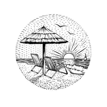 Beach landscape with parasol and two chairs. Black line graphic illustration on white backgraund. Round sea vacation emblem, card or logo element. Çizim